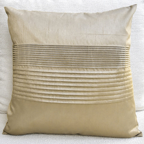 Tate Pleated Silk Cushion, Gold