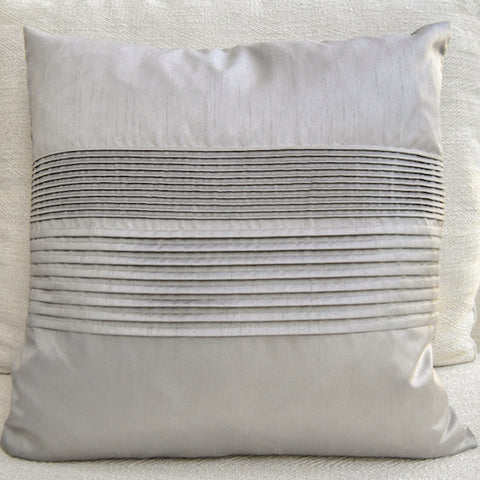 Tate Pleated Silk Cushion, Taupe