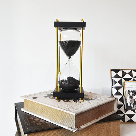 Black Sand Hourglass on Gold Stand, 30-min