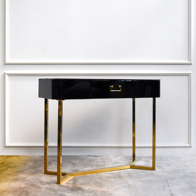 Thierry Petite 1 Drawer Console Table Black Gold Finn Avenue