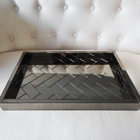 Decor Serving Tray - Luxe Glass Tray, Rectangular. Crafted from tinted glass