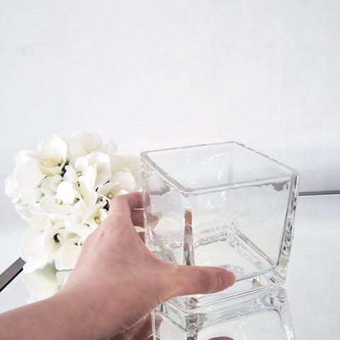 Ritz Simple Glass Vase, Square
