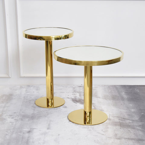 Vis-a-vis-I Polished Gold Side Table, Grande
