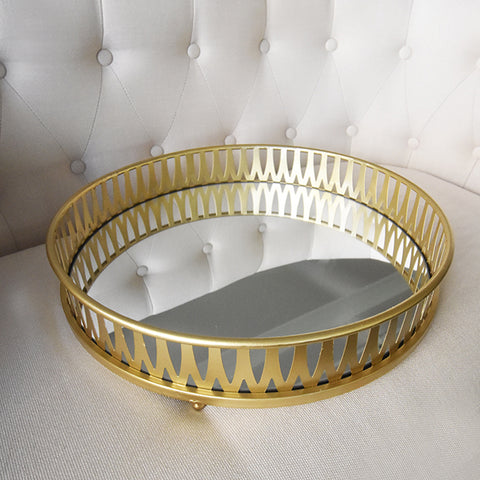 Tray - Gold Mirror Tray, Round Crafted from mirror and lined with gold metal design.