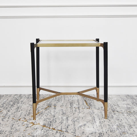 Vue Black Gold Glass End Table, Rectangular
