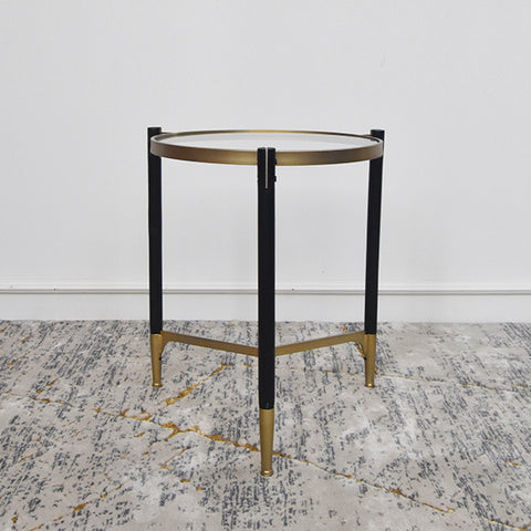Vue Black Gold Glass End Table, Round