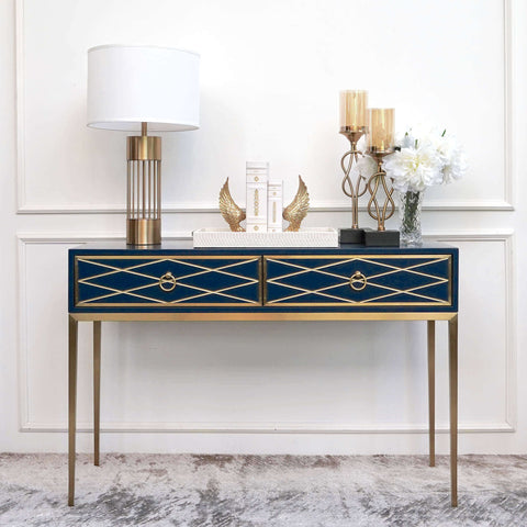 Modern Mid Century White Gold Blue Entrance Decor by Finn Avenue