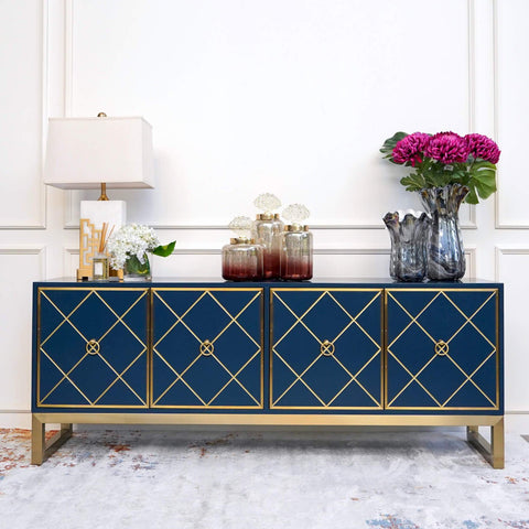 Valentino 4 Door Art Deco Cabinet Sideboard, Blue and Gold in Modern Living Room Home Design with Console Table Decor