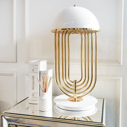 Tina Gold Metal White Table Lamp
