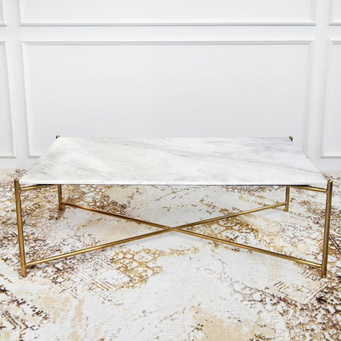 Atlas White & Gold Marble Coffee Table