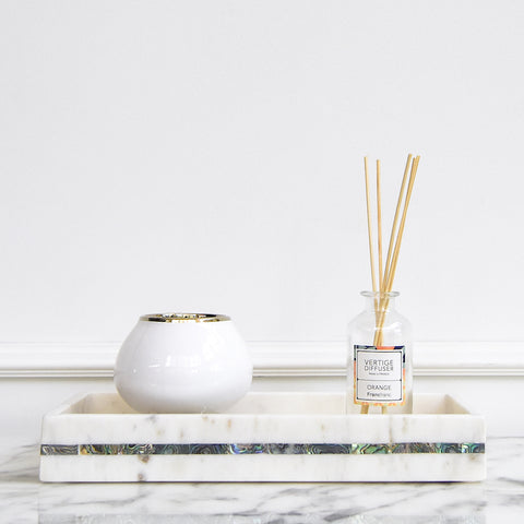 Waldorf White Marble Tank Tray, Inlayed Shell