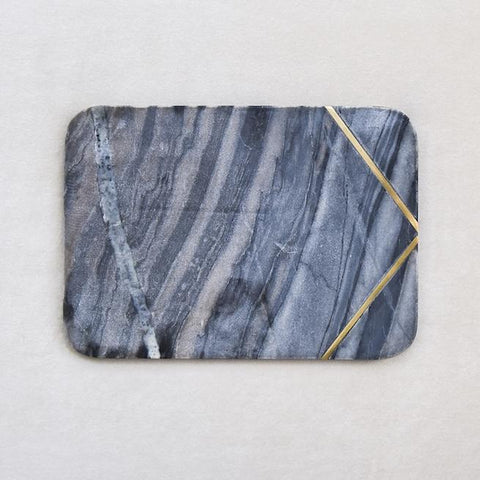 Waldorf Grey Marble Cheese Board, Brass Inlayed, Rectangle