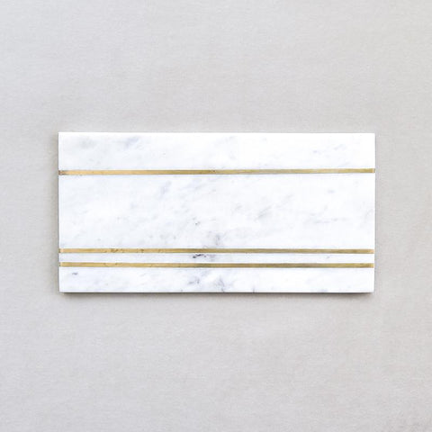 Waldorf White Marble Cheese Board, Brass Inlayed, Large