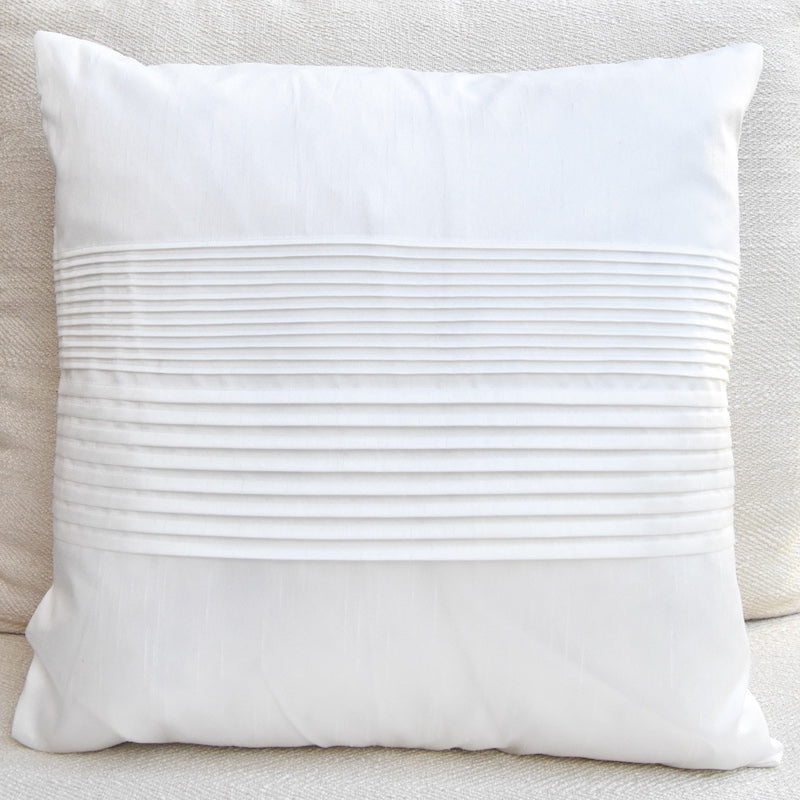 Tate Pleated Silk Cushion, White