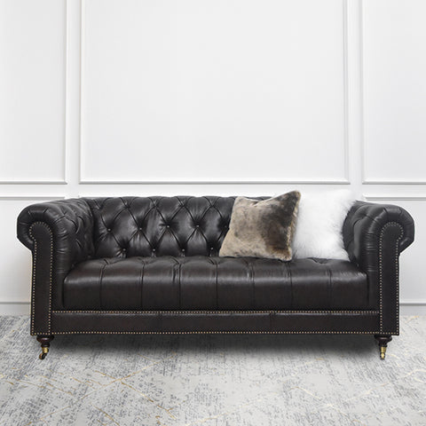 Yorkshire Leather Chesterfield Sofa, 3-Seater, Traditional Brown