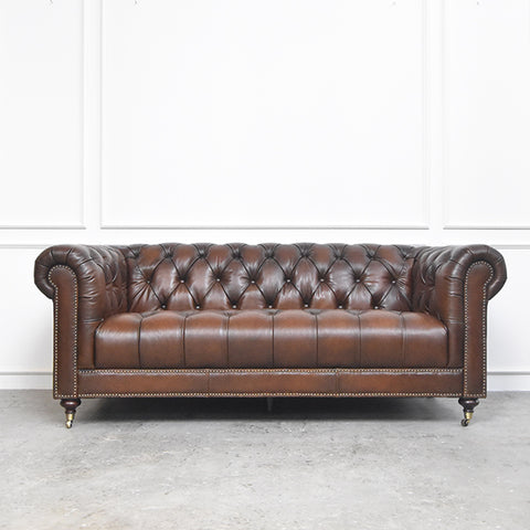 Yorkshire Leather Chesterfield Sofa, 3-Seater, Vintage Brown