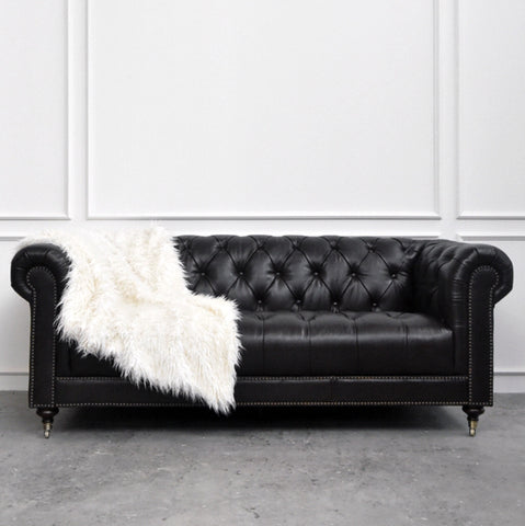 Black Leather Sofa, 3-seater Chesterfield Sofa