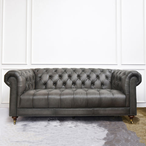 Yorkshire Leather Chesterfield Sofa, 3-Seater, Vintage Grey