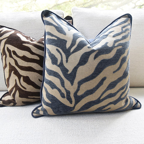 Zebra Prints Down Feather Cushion - Gray