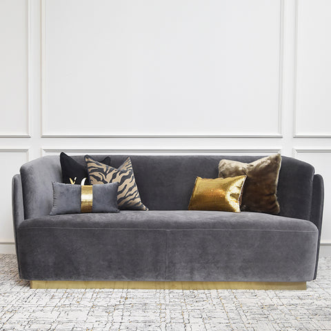 Custom-upholstered Zelda Curved Sofa, 3-seater