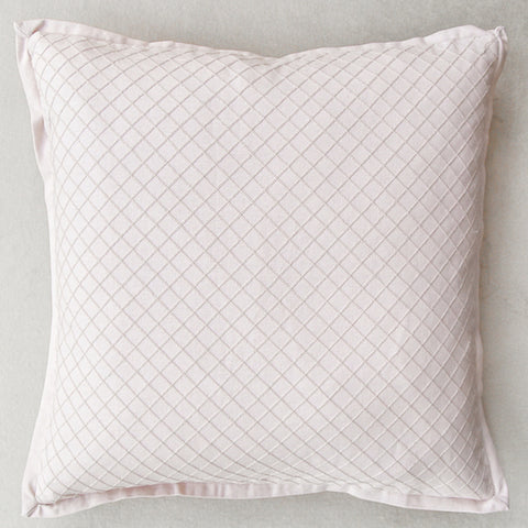 Zeta Flanged Cushion, Embroidered Blush Pink