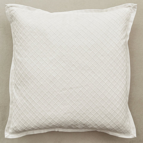 Zeta Flanged Cushion, Embroidered Cream