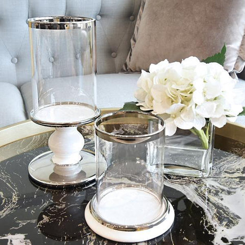 Decor Ideas - Gold Trim Glass Round Candle Holder on black marble table top