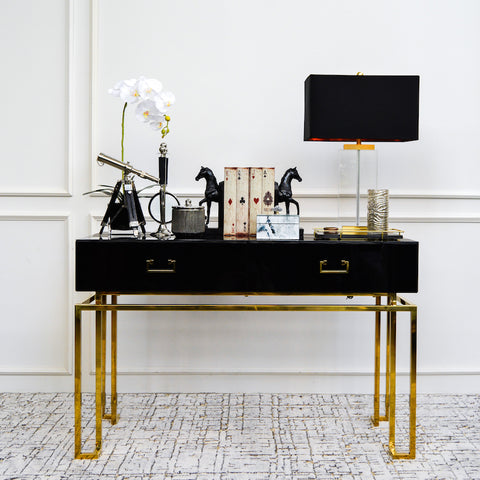 Thierry II 2-Drawer Console Table, Black & Gold