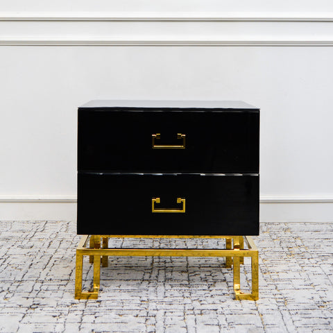 Thierry II 2-Drawer End Table, Black & Gold