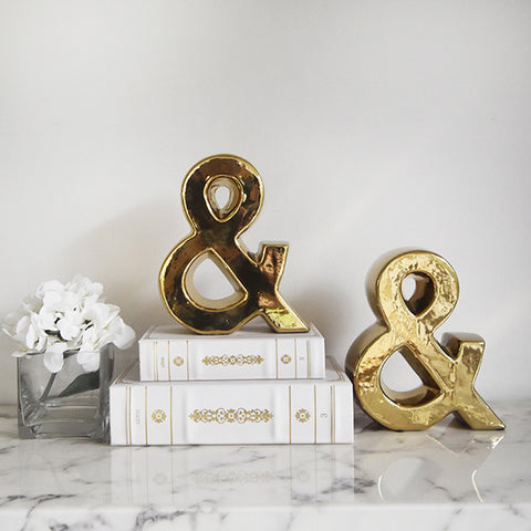 Gold Symbol Bookend, Ampersand '&' (Set of 2) for unique decor on sale at online furniture store in Singapore