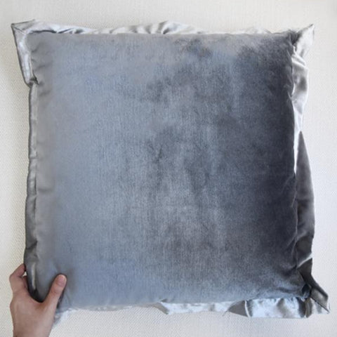 Grey velvet with silver satin flanged cushion