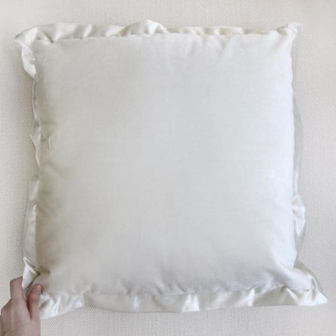 White velvet flanged cushion