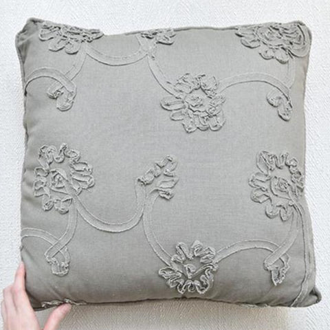 Khaki floral embroidered polyester square cushion