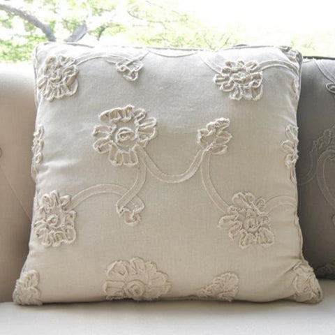 Beige Floral Embroidered Polyester Cushion