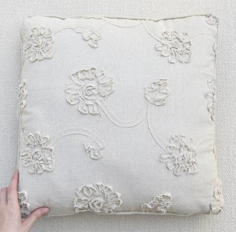 Beige Floral Embroidery Linen Cushion