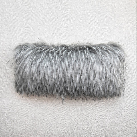 Grey Fur Boudoir Cushion