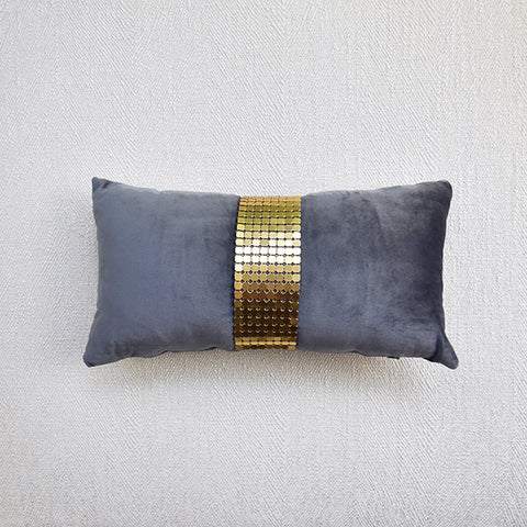Grey Velvet Gold Mesh Boudoir Cushion