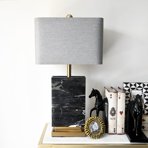 Matthieu-Duo Black Marble Blocks Table Lamp