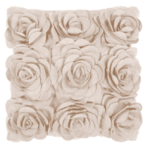 Payton Floral Cushion, Textured Roses Petals Wool Ivory