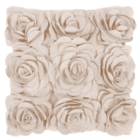 Rose Petals Wool Cushion in Ivory
