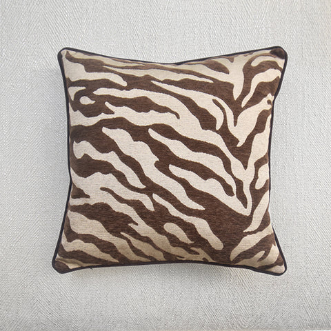 Zebra Prints Down Feather Cushion - Brown