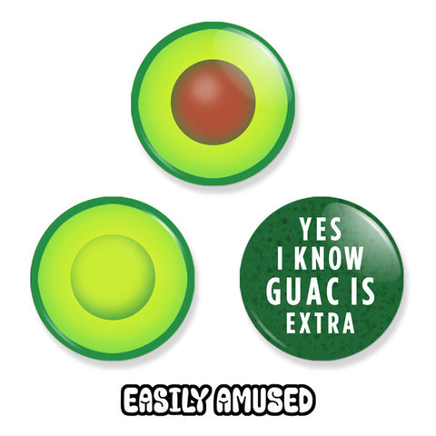 Avocado Button Set - Buttons - Easily Amused