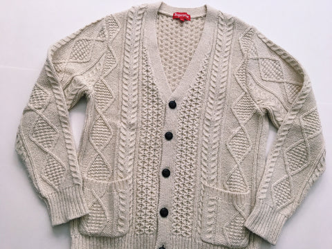 Supreme Cable Knit Cardigan - White