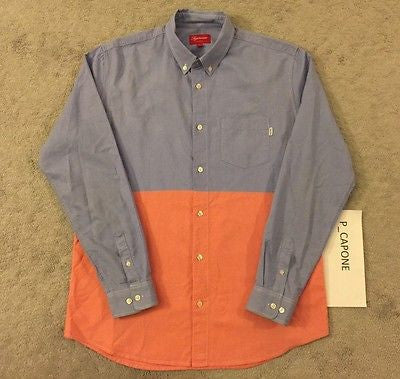 Supreme Split Oxford Shirt - Blue/ Salmon (2013)