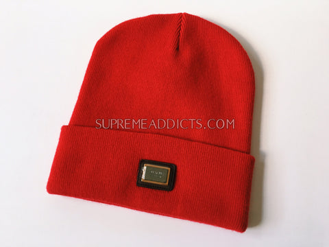 Supreme Metal Plate Beanie - Red