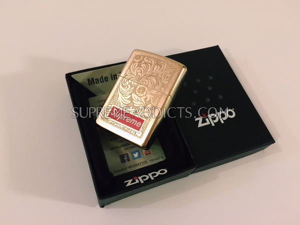 Supreme Engraved Brass Zippo - Gold