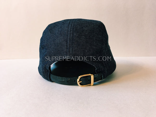 190b081d6ec Supreme Denim Croc Strap Cap - Navy – SUPREME ADDICTS