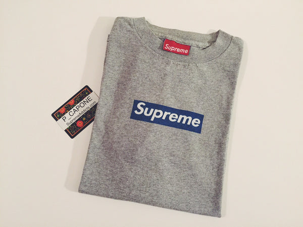 Supreme Box Logo Tee - Gray / Blue