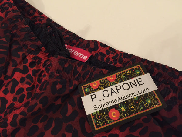 Supreme Leopard Water Shorts - Red