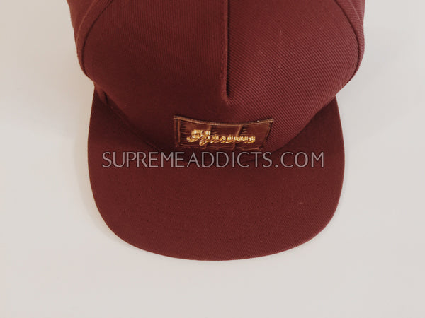 Supreme Crocodile Script 5 Panel Cap - Burgundy